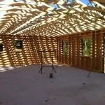 Pose charpente chantier maison bois La Chapelle Gonaguet