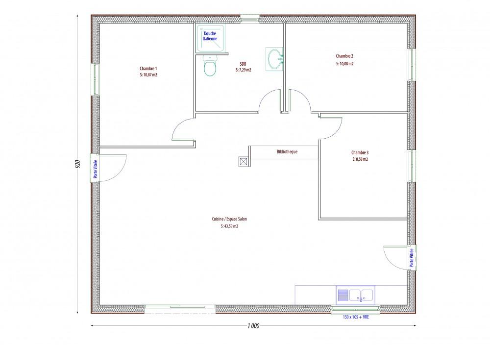 plan maison bois balsa p rigord maisons bois. Black Bedroom Furniture Sets. Home Design Ideas