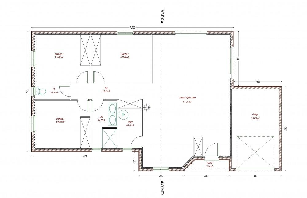 Plan maison bois colombe perigord maisons bois for Plan maison en bois