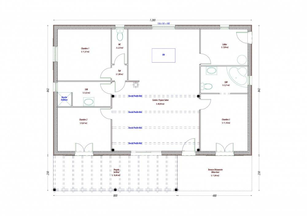 plan maison pas cher fr plan maison plain pied type construire loft pas cher with plan maison. Black Bedroom Furniture Sets. Home Design Ideas