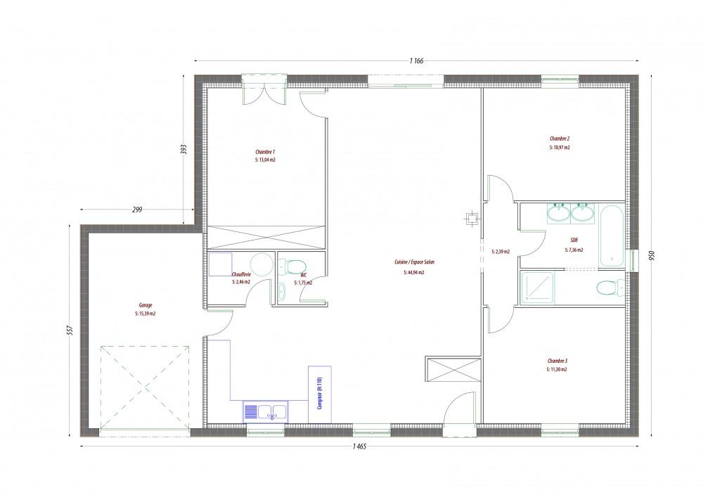 Plan maison bois kiwi le prix propos par notre formule for Construction maison rt 2012 prix